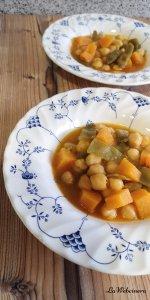 receta de garbanzos con calabaza y judías verdes