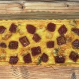 quiche de membrillo y queso Stilton