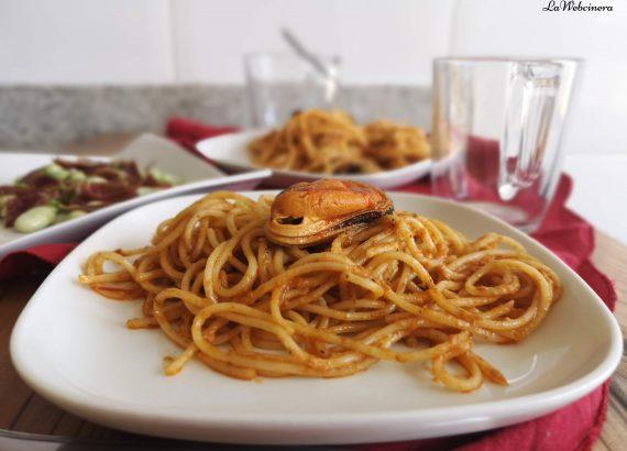 receta de pasta con mejillones en lata