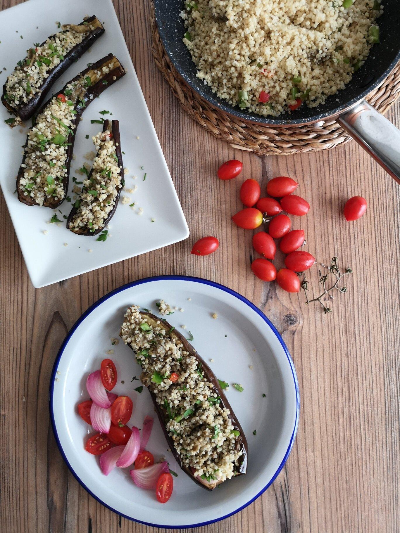 berenjenas rellenas de quinoa