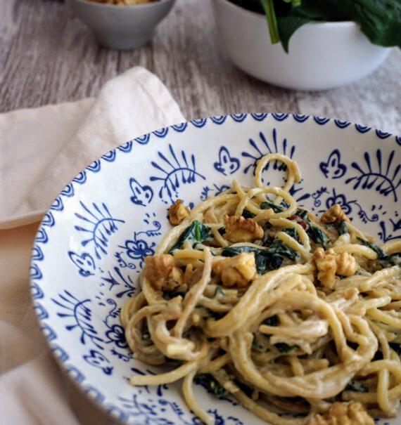 pasta con espinacas y roquefort