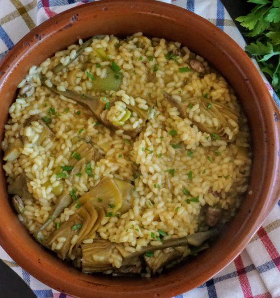 arroz meloso con alcachofas