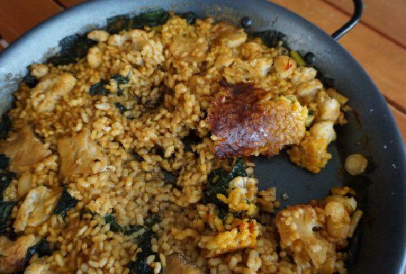arroz con coliflor y espinacas